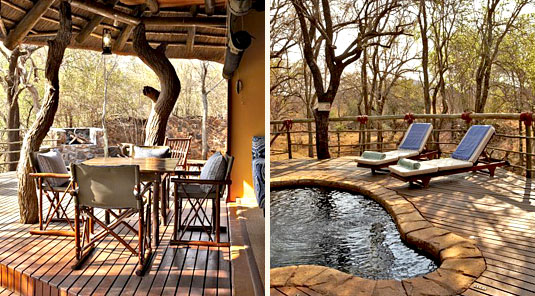 Jaci's Safari Lodge - Madikwe Game Reserve - Deck Dining Table & Swimming Pool