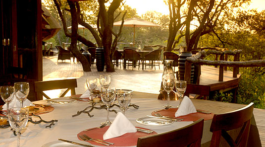 Motswiri Safari Lodge - Deck Dining - Madikwe Game Reserve
